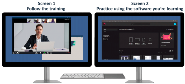 Hardware for live online training - two screens