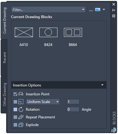 AutoCAD 2020 blog blocks palette