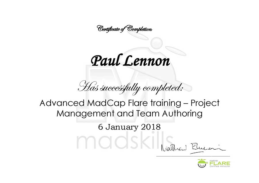 Madcap flare project management and team authoring course click here to see an example of the certificate you receive yadclub Choice Image