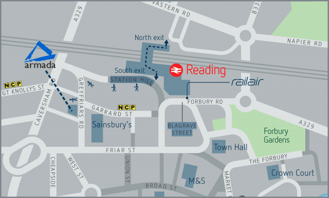 Map to Armada training centre Reading - Spaces